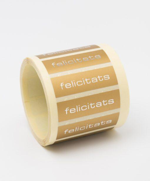 etiqueta regalo oro felicicidades
